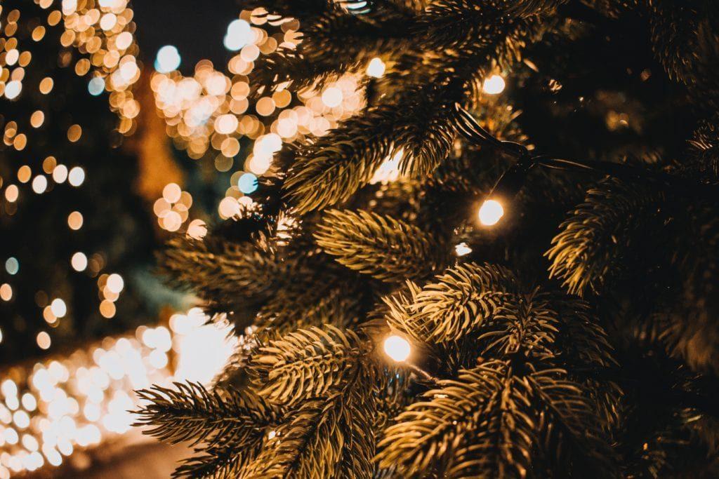 Christmas tree white lights wrapped around the tree