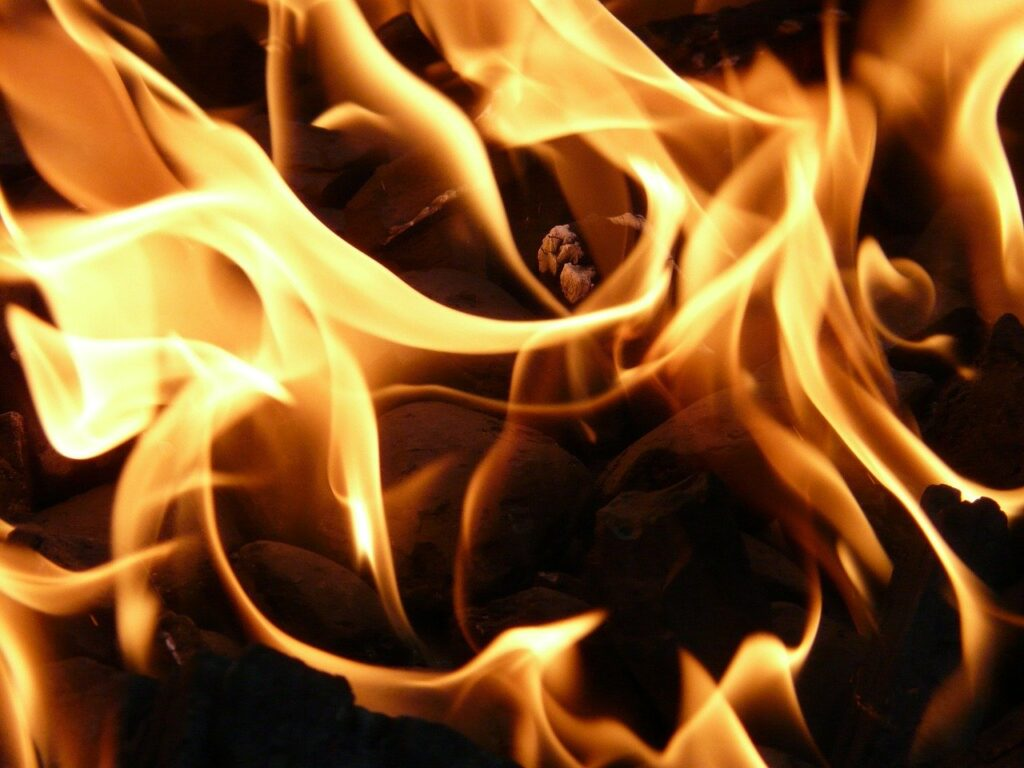 a close up of flames burning